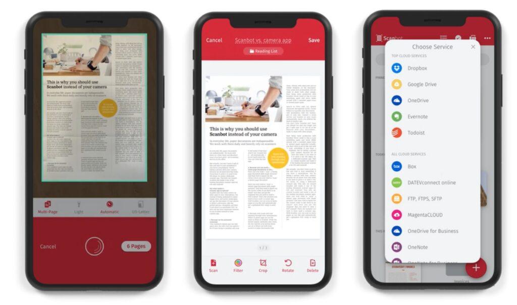 Scanbot Scanner, melhor aplicativo para iPhone para digitalizar documentos