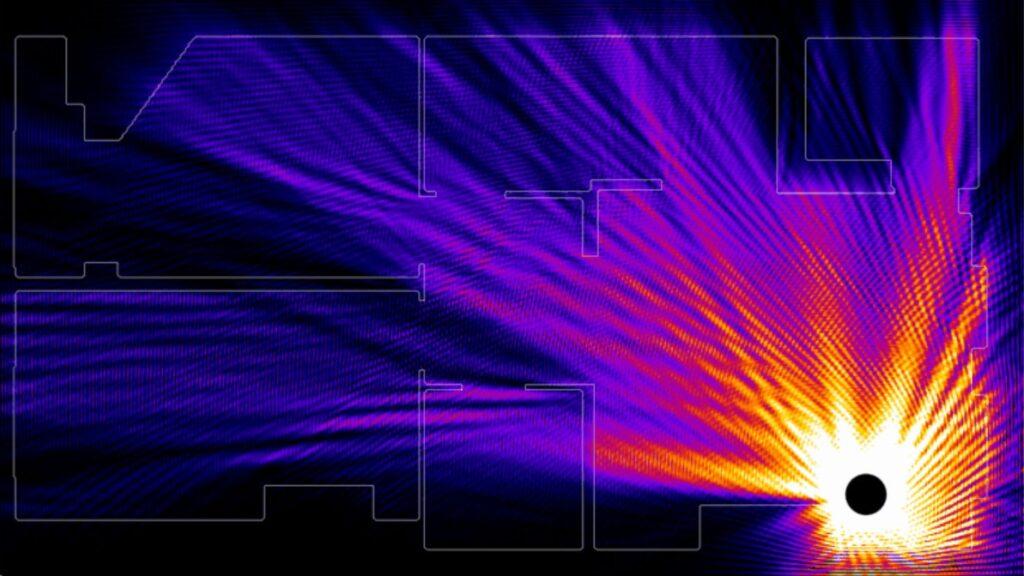 Um mapa da intensidade do sinal WiFi de um roteador colocado no canto de uma sala.
