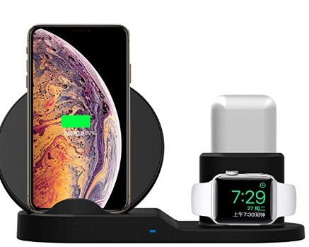 Estação múltipla de carregador sem fio, carrega iphone, smart watch e fones de ouvido sem fio