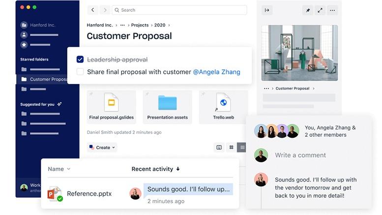Dropbox permite armazenar seus arquivos de trabalho online, para que você possa acessá-los a qualquer hora e em qualquer lugar.