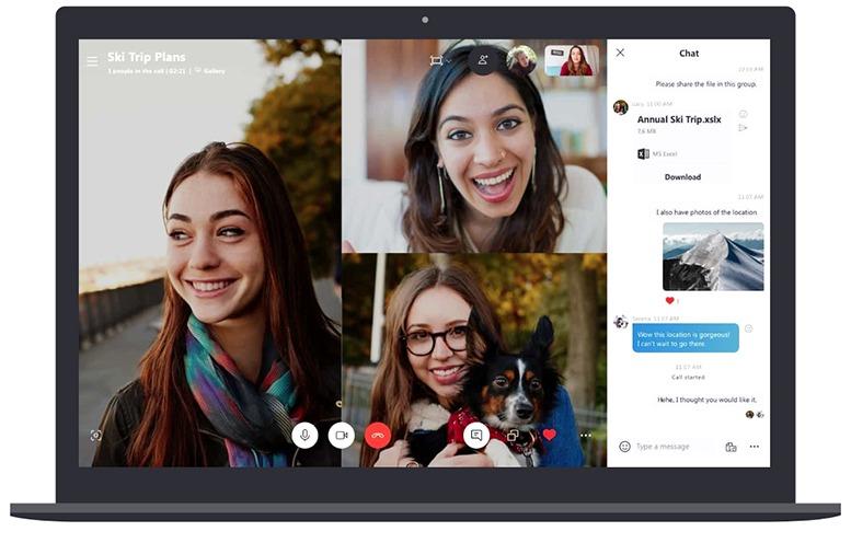 Skype, aplicativo para fazer e receber chamadas de vídeo com seu computador, telefone ou tablet.