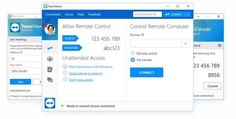 TeamViewer é uma ferramenta de suporte à área de trabalho remota que permite conectar-se a outro computador pela Internet e controlá-lo